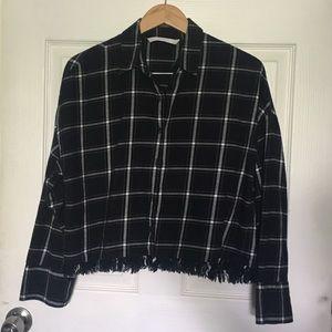 Zara Black & White Plaid Flannel